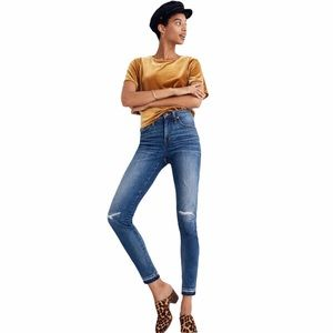 """Madewell 9"""" high-rise skinny blue ripped jeans 23"""